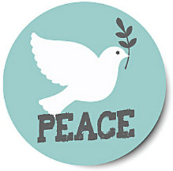 white dove above the word peace