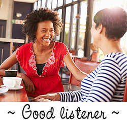 two women talking - good listener