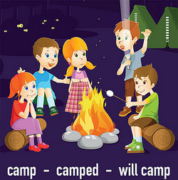 Cartoon of children camping outside