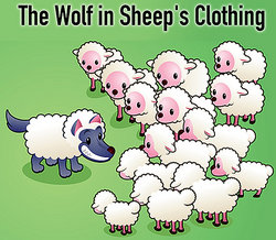 A wolf in sheep's clothing fable illustration