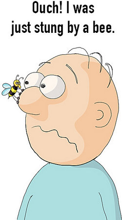 man with a bee on his nose - ouch!