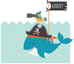 Ahoy! A cartoon pirate whale and parrot to illustrate interjections