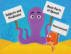Sea creatures showing parts of grammar