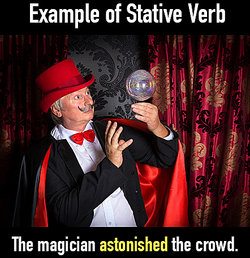 magician astonishes (verb) with crystal ball