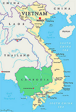 close-up of map highlighting Vietnam and Cambodia