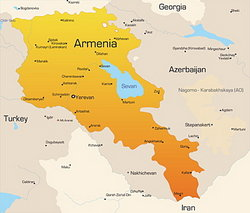 close-up map with Armenia highlighted
