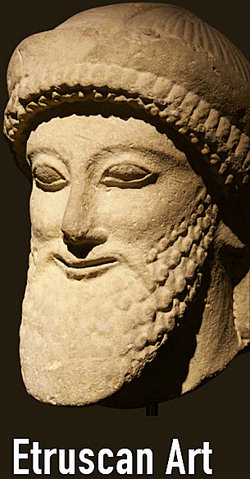 Etruscan stone bust of bearded man