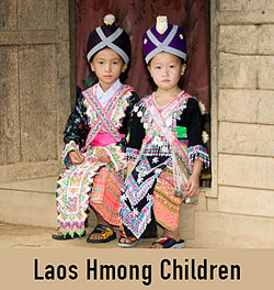 two girls in traditional Hmong clothing