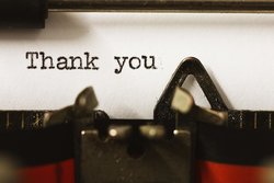 Thank you letter on a typewriter