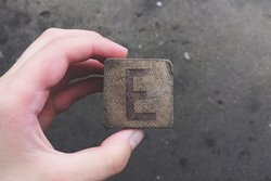 Letter E on a wooden block