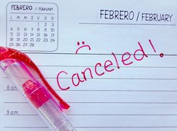 Canceled on a day planner