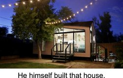 Tiny house with large glass windows