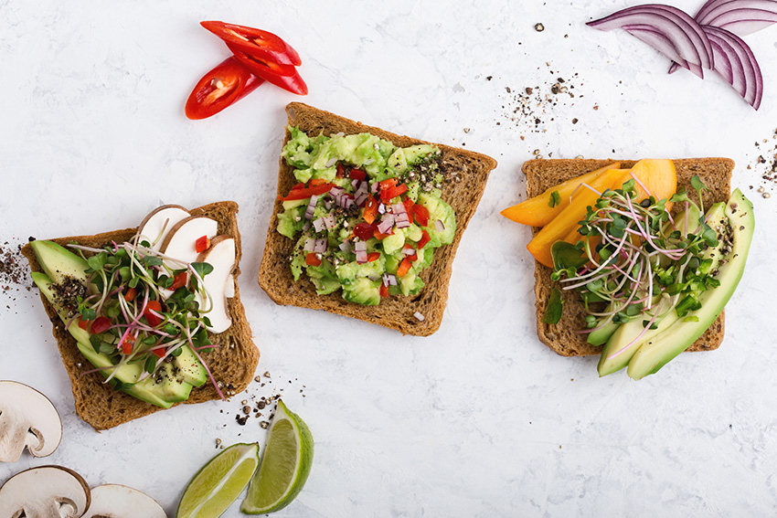 variety of avocado toast sandwiches