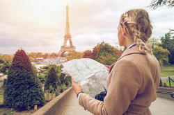 Woman traveling in Paris
