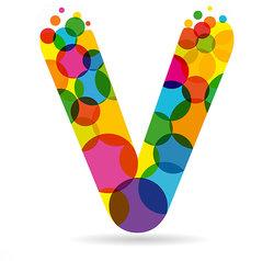 colorful letter v