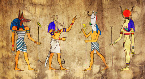 wall painting of Egyptian gods