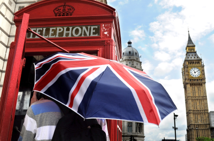 London phone booth with British flag