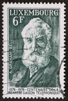 Postage stamp with Alexander Graham Bell