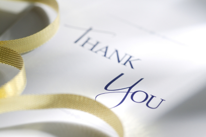 Writing a thank you card for a bridal gift