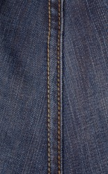 A seam on a piece of denim.