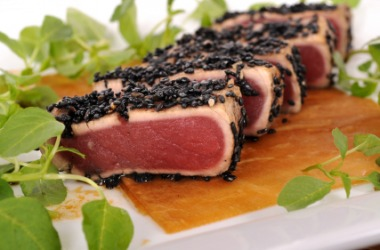 Pieces of seared tuna.
