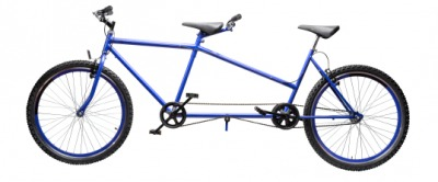 A tandem bicycle.