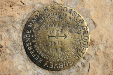 A USGC bench mark in the Grand Canyon.