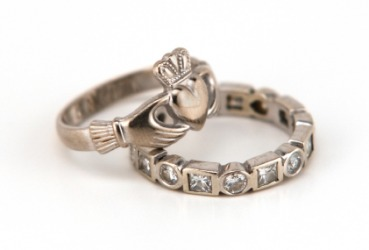 A ring with the claddagh symbol.