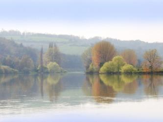 An idyllic river scene.
