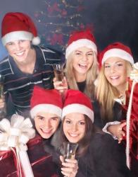 Jubilant people celebrating Christmas.