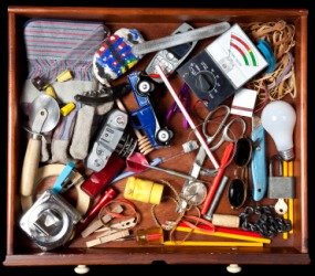 A drawer full of junk.