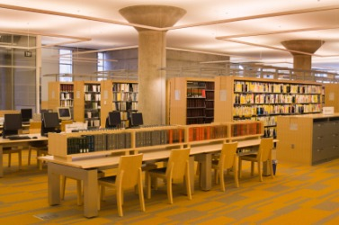 The interior of a public library.