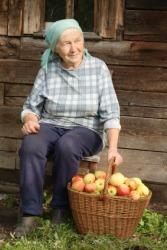 An elderly peasant woman.