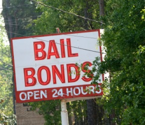 A sign outside a bail bonds office.