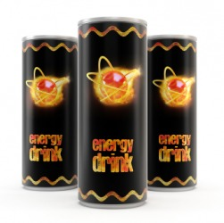 Three energy drinks.
