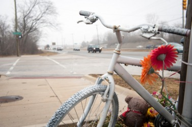 A ghost bike at the scene of a fatal accident.