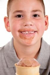 This boy likes his ice cream.