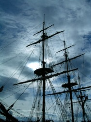 The masts of an old sailing ship.