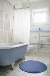 A round blue bathroom mat.