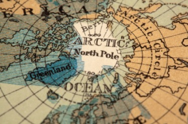 The North Pole on a globe