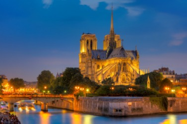 Beautiful Notre Dame cathedral at night.
