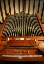 A small church organ.