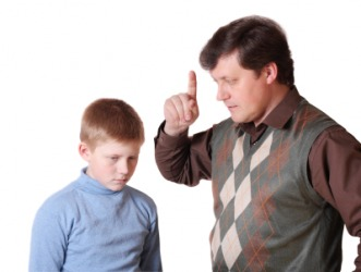 A father admonishes his child.