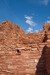 A wall made of adobe bricks.