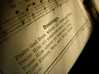 A doxology in a hymn book.