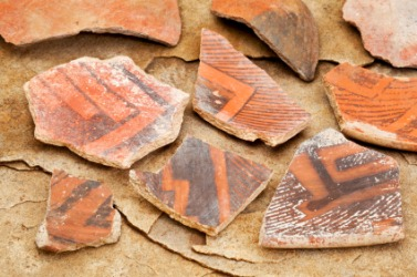 Fragments of ancient pottery.