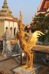 A gilt statue.