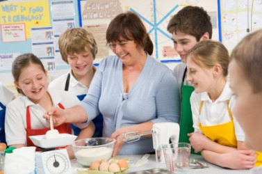 Students in a home economics class.