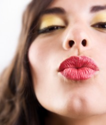 A pair of puckered lips.