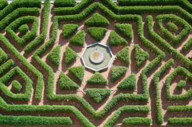 A maze in a formal garden.